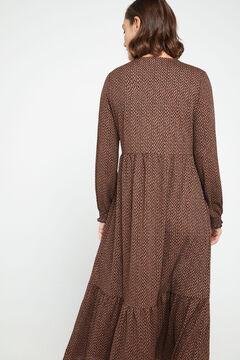 Cortefiel Flounced jersey-knit dress Kaki