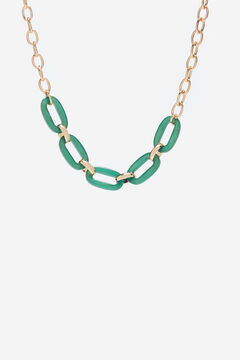 Cortefiel Resin link necklace Dark green