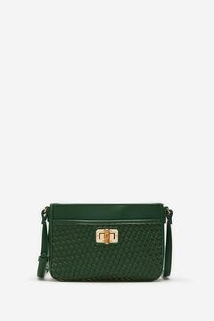 Cortefiel Bamboo detail woven crossbody bag Dark green