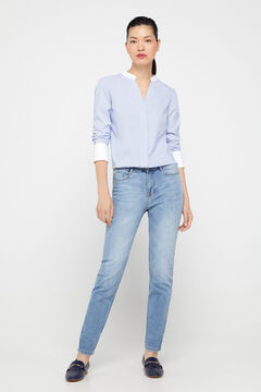 Cortefiel Essential sustainable fabric cigarette trousers Blue jeans