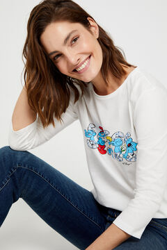Cortefiel Organic cotton Smurfs print t-shirt White