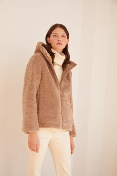 Cortefiel Short faux shearling coat Pink