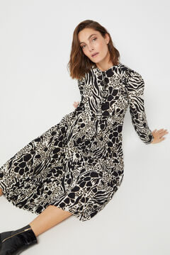 Cortefiel Long-sleeved printed dress Ecru