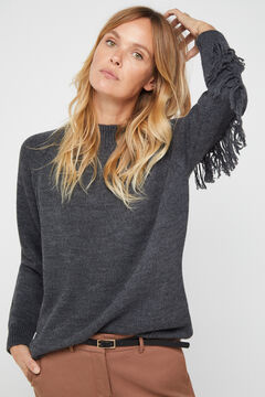 Cortefiel Long-sleeved jumper with tassels Dark gray