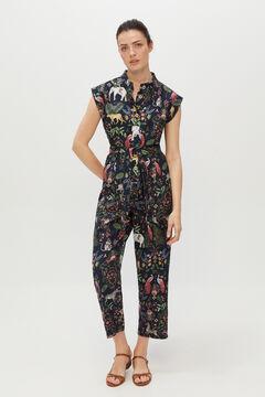 Cortefiel Sleeveless printed jumpsuit Blue