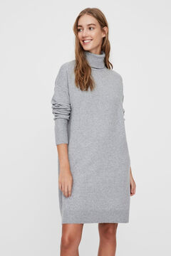 Cortefiel Recycled polyester polo neck dress Gray