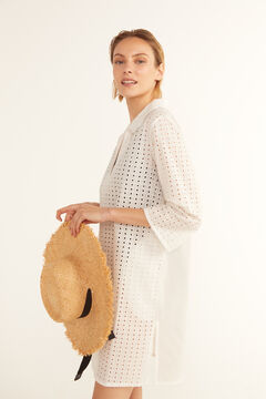 Cortefiel Broderie anglaise tunic kaftan with collar White