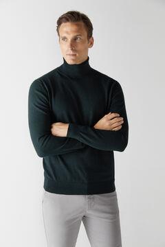 Cortefiel Cotton/cashmere polo neck jumper Dark green
