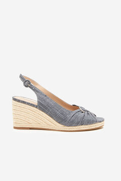 Cortefiel Natural jute fabric wedge with gold ring Royal blue