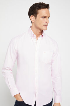 Cortefiel Plain organic cotton Oxford shirt Pink
