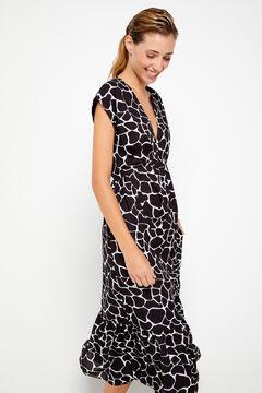 Cortefiel Midi print dress Gray