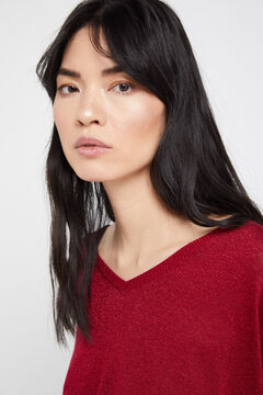 Cortefiel Lurex V-neck jumper Red garnet