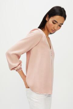 Cortefiel Pink smocked Lyocell shirt Purpura