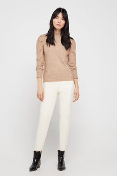 Cortefiel Stretch faux leather trousers. Ecru