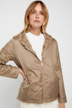 Cortefiel Reversible faux fur jacket Beige