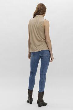 Cortefiel Sleeveless blouse Tobaco
