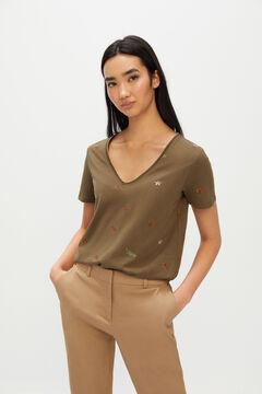 Cortefiel Cotton V-neck T-shirt Pink