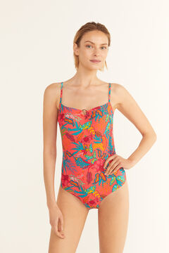Cortefiel Eco-friendly printed shaping swimsuit Pink