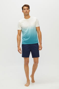 Cortefiel Short-sleeved T-shirt Blue jeans