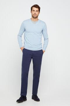 Cortefiel Pantalón chino básico microestampado regular Azul
