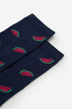 Cortefiel Long watermelon print socks Royal blue