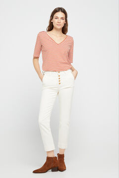 Cortefiel Ecru cigarette jeans White