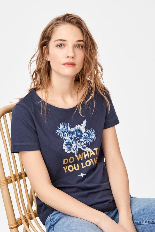 8c0c2169f Cortefiel Camiseta estampada algodón orgánico Azul