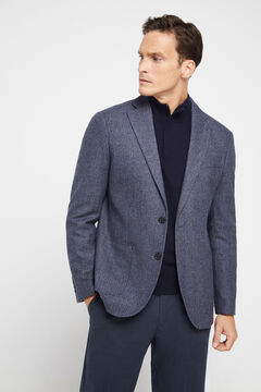 Cortefiel Micro textured blazer Royal blue