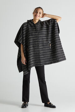 Cortefiel Long cape with gold clips Ecru