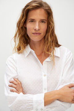 Cortefiel Long-sleeved plumetis shirt White