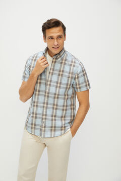 Cortefiel Checked short-sleeved linen and cotton shirt Blue