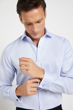 Cortefiel Plain tailored dress shirt with cufflinks Light blue