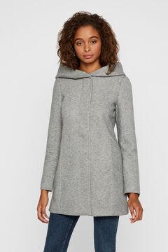 Cortefiel Hooded long-sleeved coat Gray