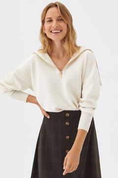 Cortefiel Jersey-knit midi skirt Natural