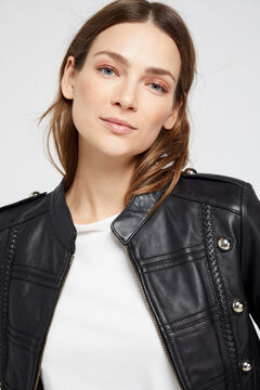 Cortefiel Military style leather jacket Black