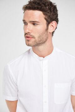 Cortefiel Mandarin collar shirt White