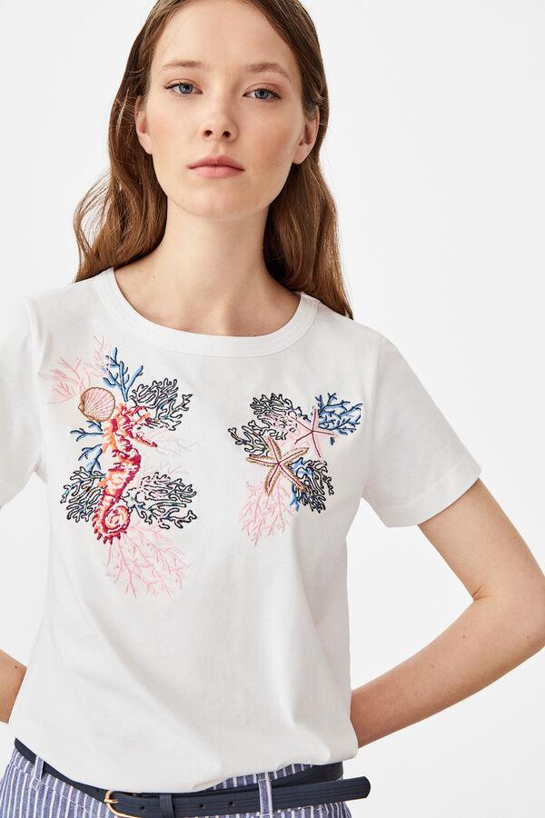 4178754a35cd Cortefiel Camiseta estampado aplicación Beige