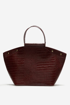 Cortefiel Croc shopper bag Fuchsia