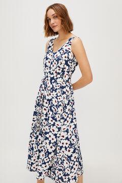 Cortefiel Midi V-cut dress Blue