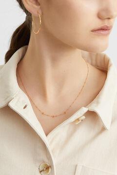 Cortefiel Short silver necklace  Orange