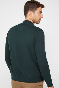 Cortefiel Zip up cardigan Dark green