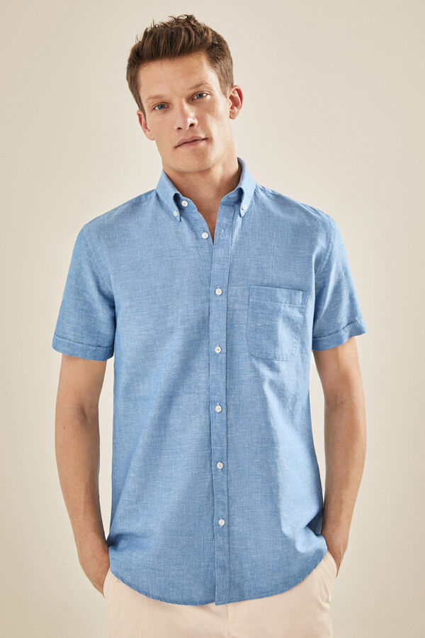 c5d8855ccd70 Cortefiel Camisa de manga corta lisa Azul · Comprar