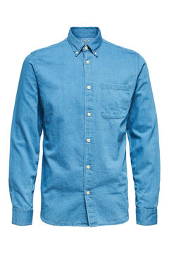 Cortefiel Organic denim shirt Royal blue
