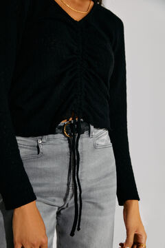 Cortefiel Jersey-knit top with cord Black