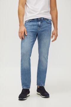 Cortefiel Slim fit organic dark wash jeans Royal blue