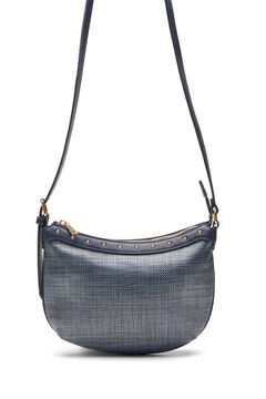 Cortefiel Raffia and studs crossbody bag Navy