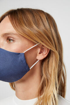 Cortefiel Reusable chambray face mask Royal blue
