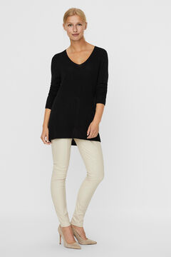 Cortefiel Knitted long-sleeved blouse Black