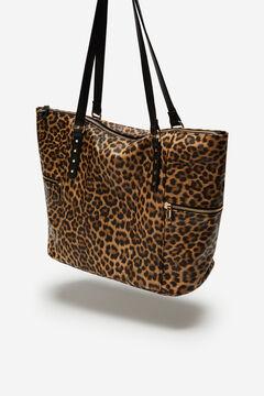 Cortefiel Leopard shopper bag Natural