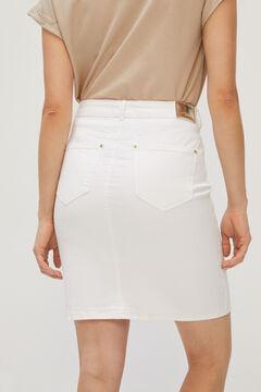 Cortefiel White denim skirt White